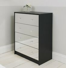 Four Drawer Black Mirrored Chest of Drawers Cabinet Storage Unit