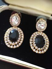 BLACK JET AND CLEAR CRYSTAL COSTUME EARRINGS