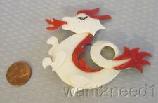 LEA STEIN PARIS DRAGON PIN pearly white red fire breathing cellulose acetate
