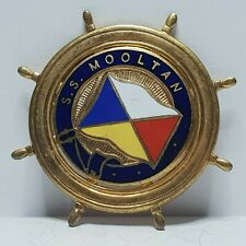 More details for p&o line flag ss mooltan enamel ship wheel pin badge as sold on board