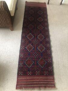 Handmade Afghan runner 228x64cm 100% Wool rug