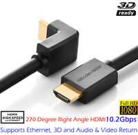 Premium 15ft HDMI LEAD to RIGHT ANGLE HDMI TV CABLE FULL HD 1080p 270 DEGREES