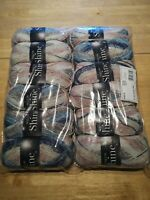 12 x king Cole Shine 138 glacier DK double knit 100g balls blue pink sparkle
