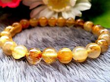 8MM 4A Natural Titin Golden Rutilated Quartz Crystal Round Beads Bracelet BL9221