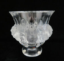 "Hand Signed Lalique France ""Dampierre"" Crystal Bird & Floral Vase"