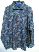 Bugatchi Classic Fit Mens Size XXL Multicolor Wings Print Button Up Dress Shirt