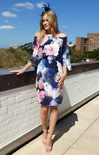 Floral Dress Size 16 Cape Sleeve Party Church Formal Wedding Chiffon Cocktails