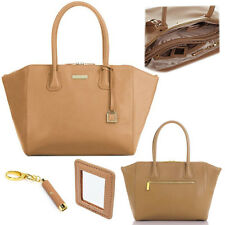 Joy & Iman City Satchel Leather Handbag Large Designer Zip Tote Purse Organizer