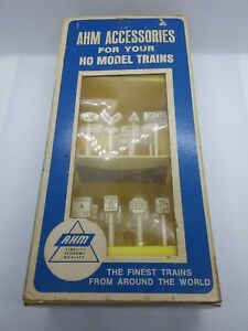 Vintage AHM Accessories #5612 Assorted HO Railroad & Traffic Signs - 22 Signs