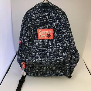 Superdry Rucksack Women's Navy Blue White Polka Dot Casual Backpack Bag 111346