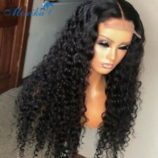 Deep Wave Closure Wig Human Hair Lace Frontal Wigs 180 Lace Pre Plucked Bleached