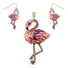 No Chain Gift Boxed Fast Shipping Pink Flamingo Pendant and Earrings Set