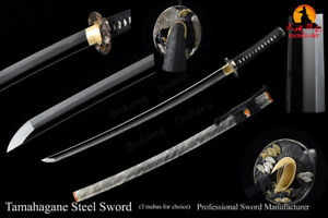 Tamahagane Steel Samuai Sword Katana Brass Fittings Rayskin Saya