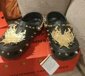 CROCS x Vivienne Tam UNISEX Black Studded Chain-Link Clog Shoes Size US 7 $170