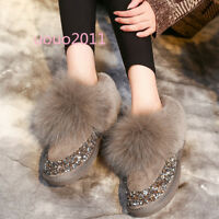 Women's Suede Fur Lined Fur Winter Sequins Warm Snow Boots Winter Fashion Shoes