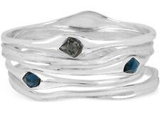 Robert Lee Morris Soho Silver-Tone Black Stone Asymmetric Bangle Bracelet Set