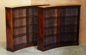 PAIR OF VERY RARE CURVED ANTIQUE VICTORIAN FLAMPED MAHOGANY LIBRARY BOOKCASES