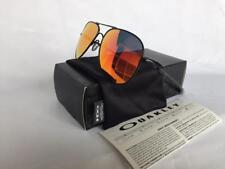 New Oakley ELMONT M Sunglasses Satin Black/Ruby Iridium Aviator Authentic