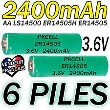 6 PILES ACCUS LITHIUM 3.6V AA ER14505 LS14500 ER14505H Li-socl2 2400Mah BATTERY