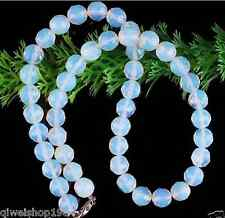 """10MM Opal Opalite Round Faceted Beads Necklace Gemstone Strand 18"""""""