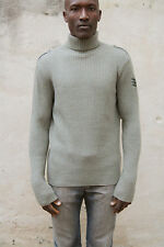 Killer Loop Langärmeliges khaki Trichter Ausschnitt Wolle Italy leger Strick Pullover XL