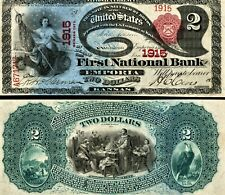 LAZY DEUCE Reproduction, Series 1875, $2 National Currency Banknote, KS, Hi-Res
