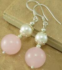 Fashion White Shell Pearl Pink Jade White Gold Plated Flower Hook Earrings
