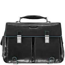 Piquadro Blue Square Black leather Briefcase/bag CA1068B2/N