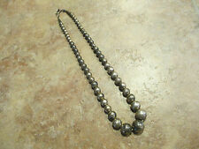 OLD Pawn Navajo Graduated Sterling Silver PEARLS Bead Necklace with Foxtail