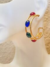 Statement Cabochon Runway Gripoix French Vtg Couture Gold Earrings Hoop Cuff
