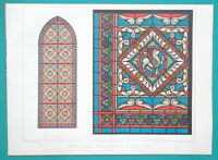 ST. DENIS CATHEDRAL Stained Glass Window France - 1858 COLOR Litho Print