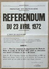 Affiche ancienne Pompidou Référendum 1972 Original Vintage French Poster
