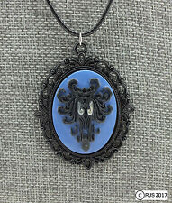 Cameo Necklace Victorian Haunted Mansion Creepy Wallpaper Eyes Glow Black Cord