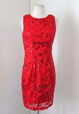 NWT New Red Sequin Beaded Lace Cocktail Dress Size S Evening Lilly & Lola