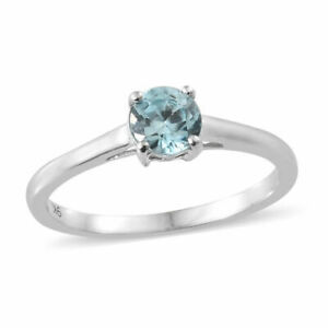 Stunning 0.65ct Blue Zircon Solitaire set in 9k White Gold.