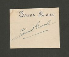 Cricket Pakistan signature autograph of SAEED AHMED 1950s-60s