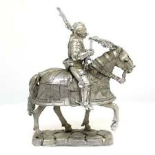 """Tin toy soldier """"Medieval Mounted Knight, 13th cent"""" metal sculpture (54mm) #Z66"""