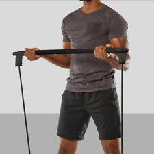 Pilates Bar Yoga Exercise Resistance Leg Band Portable Home Gym BLACK