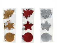 Xmas Glitter Gift Tags Christmas Tag Red Gold Silver Tree Star Bauble Present