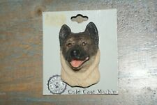 1980's Cold Cast Marble Hand Painted Dog Pin Broach - Akita