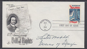 Lester Maddox, Georgia Governor, signed 5c Bill of Rights FDC