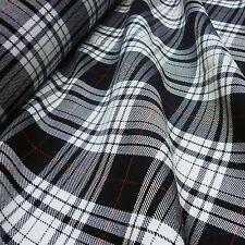 Black & White Poly-Viscose Tartan with Red Stripe Fabric (Per Metre)