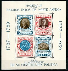 Guatemala 1938 S/S, Sc#C92, US Constitution, Washington, Roosevelt, map, MNH!