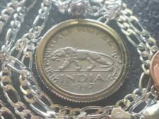 "1947 INDIA TIGER HALF RUPEE COIN PENDANT on a 24"" 925 Italian SILVER Chain 25mm"