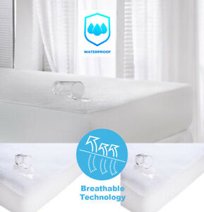 Waterproof Terry Towelling Mattress Protector Extra Deep Fitted Sheet Bed Cover