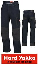 HARD YAKKA - MENS LEGENDS BLUE/BLACK DENIM CARGO POCKET WORK JEANS - Y03041