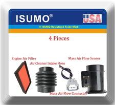 4 Pc Mass Air Flow Sensor, Connector, Air Filter & Intake Hose Fits I30 Maxima