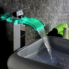Co-crystal LED Waterfall Glass One Hole Chrome Bathroom Vessel Sink Tap Faucet