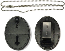 Universal Shield Leather Badge Holder With Free Neck Chain Exclusive Black Kit