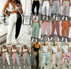 Womens Ladies High Waist Cotton Cuffed Bottom Gym Jogging Joggers Trousers Pants